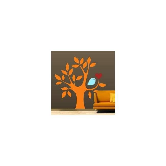 Αυτοκόλλητο τοίχου Δέντρο, καρδιά και πουλί, πορτοκαλί