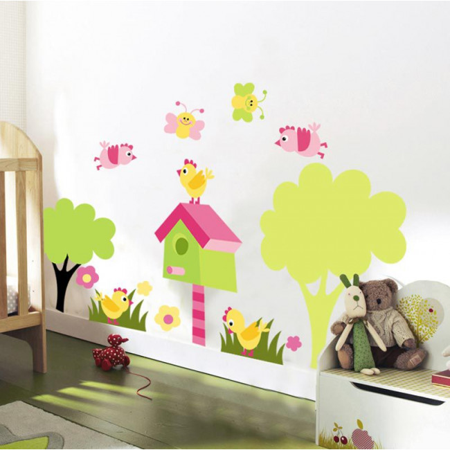 Αυτοκόλλητα τοίχου παιδικά πεταλούδες, πουλάκια, σπιτάκι πουλιών και λουλούδια, μεγάλη συλλογή