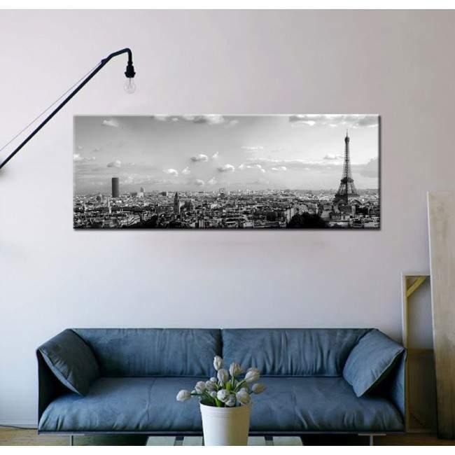 Πίνακας σε καμβά Paris skyline grayscale, πανοραμικός