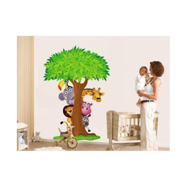 Αυτοκόλλητα τοίχου παιδικά με δέντρο και ζωάκια της ζούγκλας, Κρυφτούλι με το δέντρο