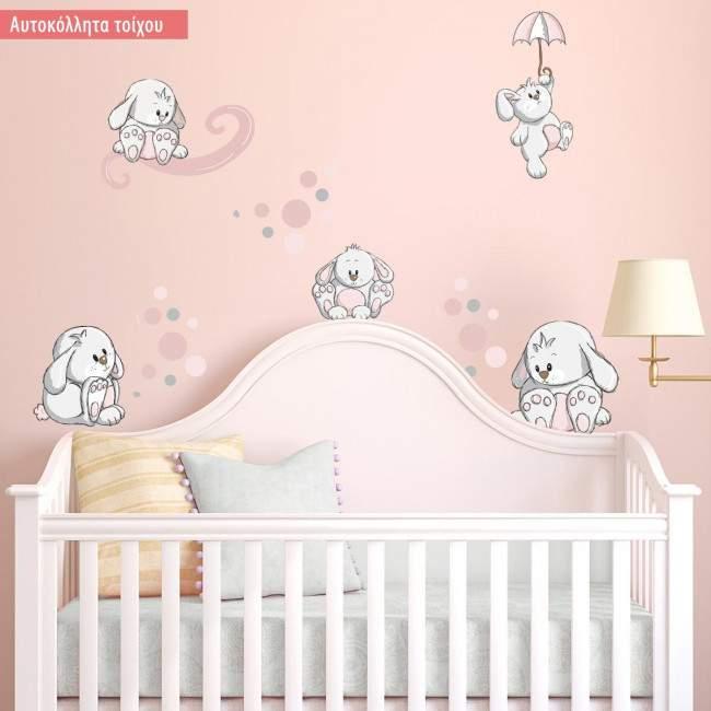 Αυτοκόλλητα τοίχου παιδικά Κουνελάκια παντού ροζ