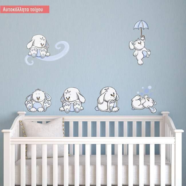 Αυτοκόλλητα τοίχου παιδικά Κουνελάκια παντού γαλάζια