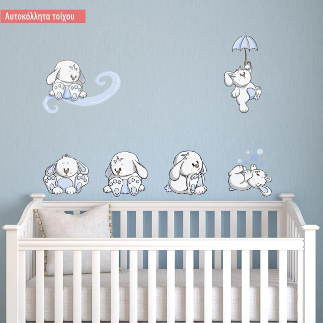 Kids wall stickers Rabbits everywherelight blue