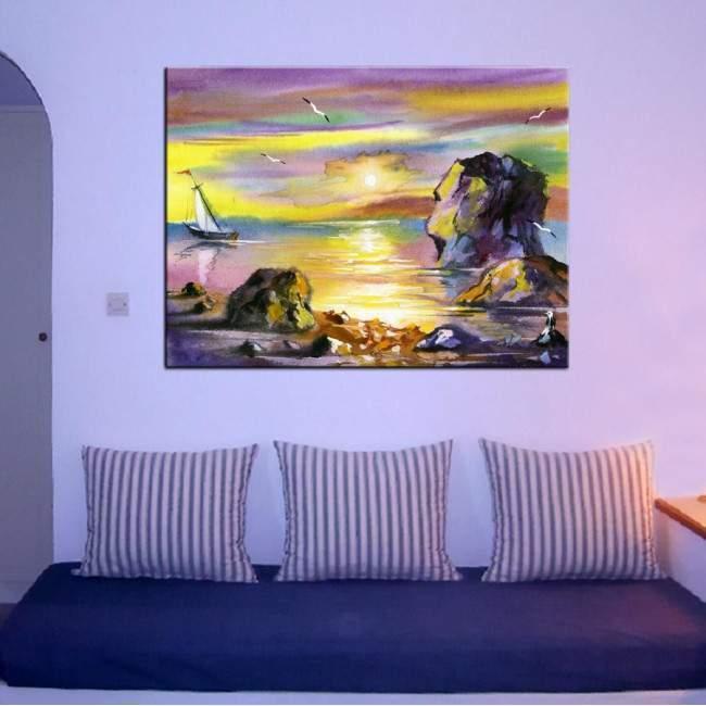Canvas print Sea landscape at sunset