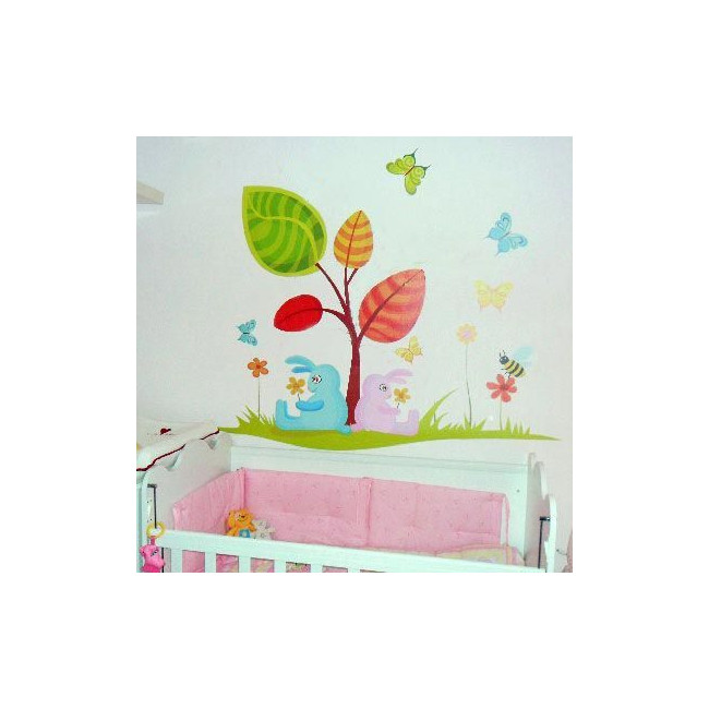 Αυτοκόλλητα τοίχου παιδικά κουνελάκια, λουλούδια, πεταλούδες, Ανοιξιάτικο δέντρο