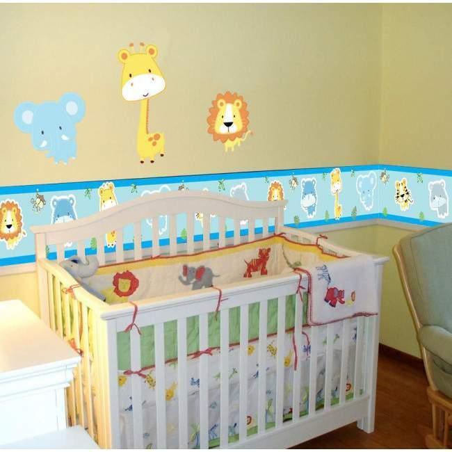 Μπορντούρα αυτοκόλλητο τοίχου, με ζωάκια ζούγκλας, Safari animals (baby blue)