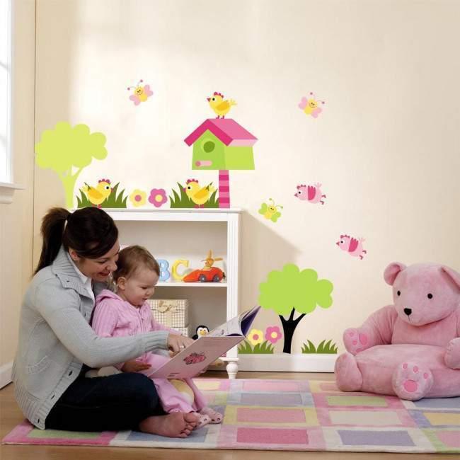 Αυτοκόλλητα τοίχου παιδικά πεταλούδες, πουλάκια, σπιτάκι πουλιών και λουλούδια