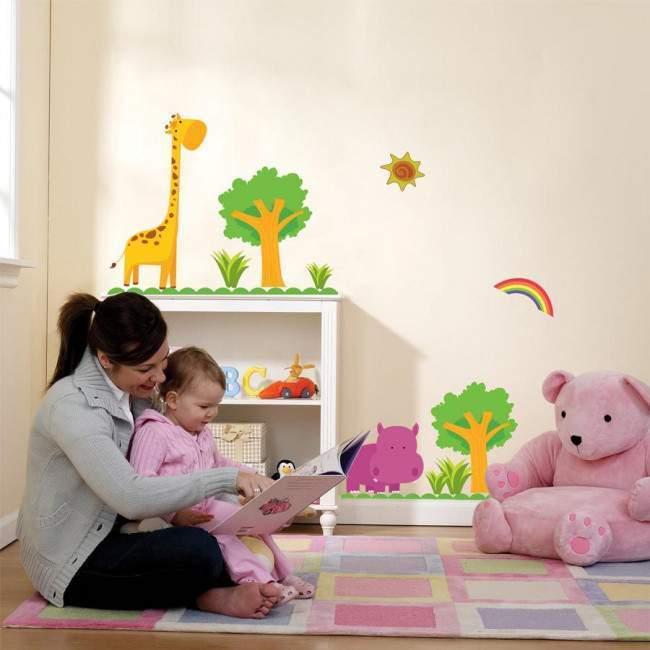 Αυτοκόλλητα τοίχου παιδικά ιπποπόταμος και καμηλοπάρδαλη, Happy Hippo & Giraffe, μικρή παράσταση