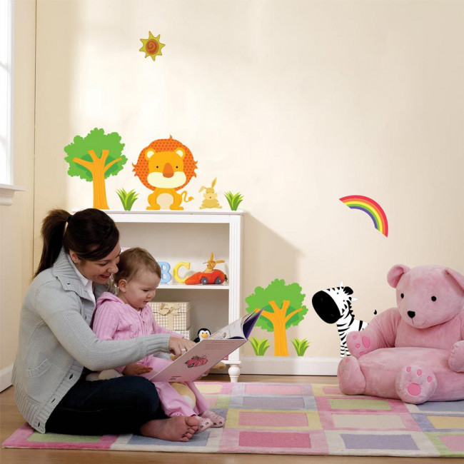 Αυτοκόλλητα τοίχου παιδικά ζέβρα και λιοντάρι, Zebra & Lion, μικρή παράσταση