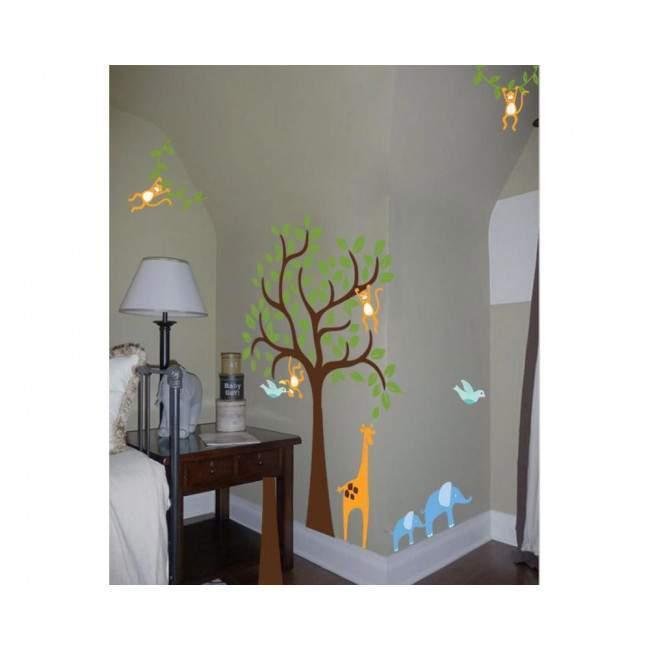 Kids wall stickers Tree with giraffe, elephants and monkeys, combination 3