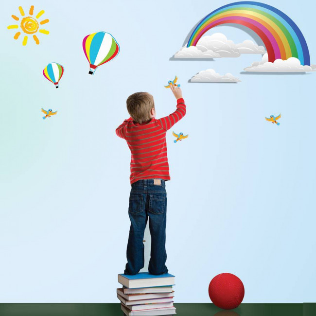 Αυτοκόλλητο τοίχου Ουράνιο τόξο, αερόστατα, ήλιος και πουλιά