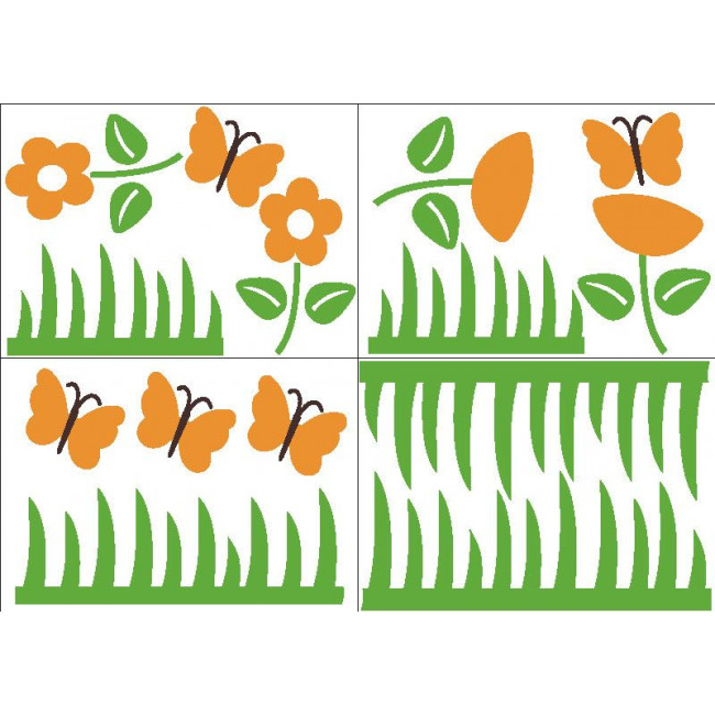 Kids wall stickers  flowers butterflies and grass