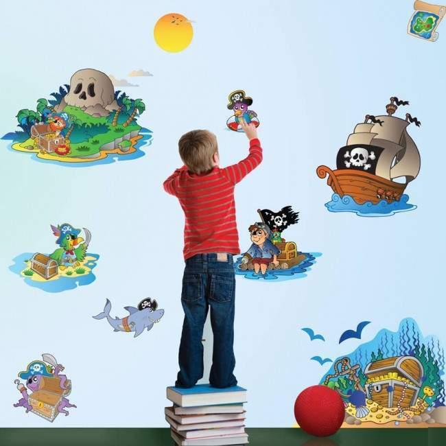 Αυτοκόλλητα τοίχου παιδικά Το νησί των πειρατών μεσαίο μέγεθος