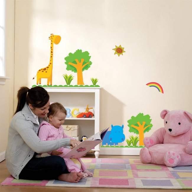Αυτοκόλλητα τοίχου παιδικά Ιπποπόταμος και καμηλοπάρδαλη, Happy Hippo blue & Giraffe, μικρή παράσταση