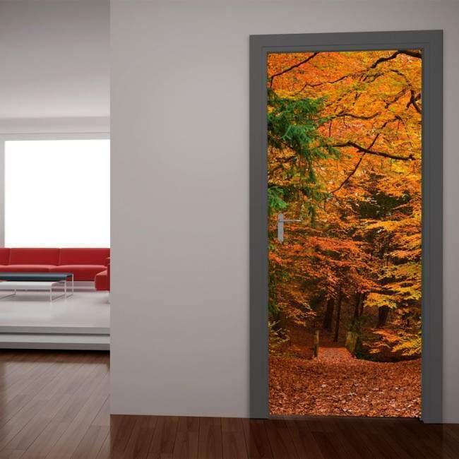 Door sticker Autumn forest path