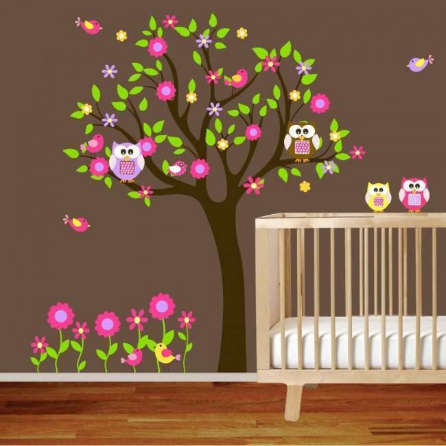 Αυτοκόλλητα τοίχου παιδικά δέντρο, κουκουβάγιες, λουλούδια και πουλάκια, Happy owls, εναλλακτικά χρώματα 3