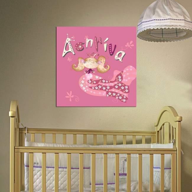 Πίνακας παιδικός σε καμβά Μικρή πριγκίπισσα, με όνομα