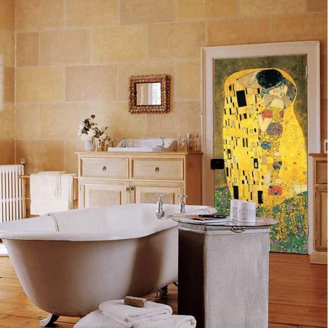 Αυτοκόλλητο πόρτας The kiss by Klimt
