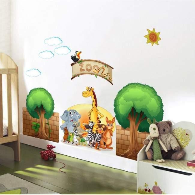 Αυτοκόλλητα τοίχου παιδικά ζωολογικός κήπος με ζωάκια, δέντρα, σύννεφα, ήλιο, Zoo