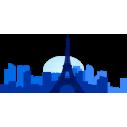 Παρίσι. Περίγραμμα σε μπλε αποχρώσεις,Αυτοκόλλητο τοίχου, κοντινό