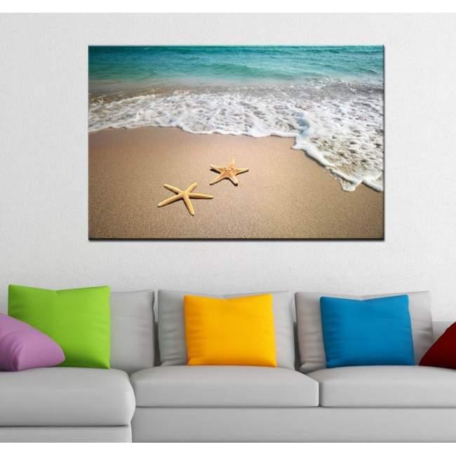 Πίνακας σε καμβά αστερίες στην παραλία, Starfishes