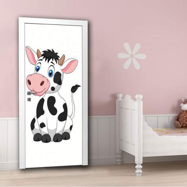 Αυτοκόλλητο πόρτας Cute cow, παιδικό