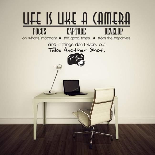 Αυτοκόλλητο τοίχου φράσεις. Life is like a camera