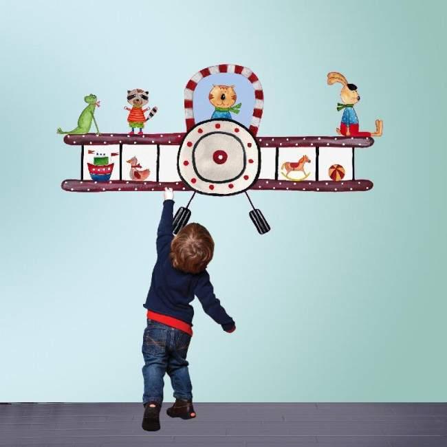Αυτοκόλλητα τοίχου παιδικά με αεροπλάνο και ζωάκια, Ας πετάξουμε!
