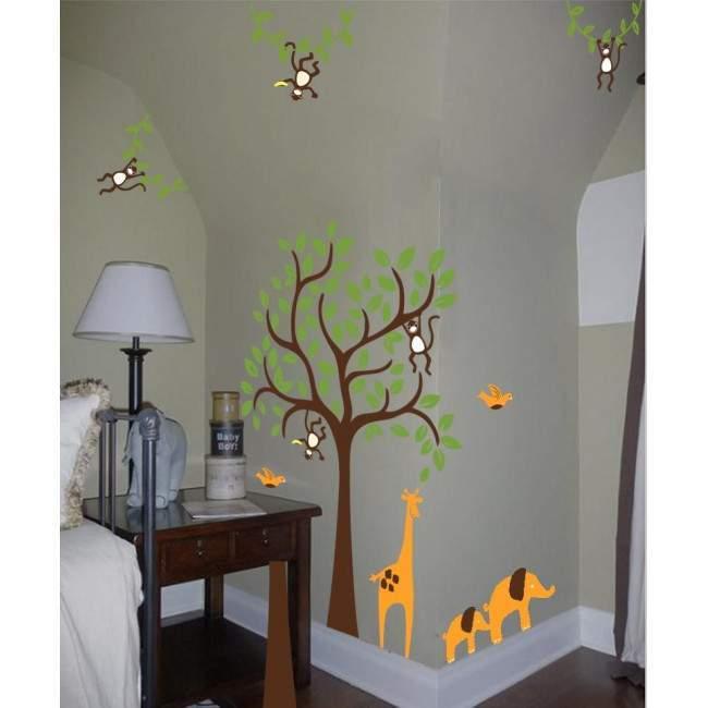 Αυτοκόλλητα τοίχου παιδικά Δέντρο με καμηλοπάρδαλη, ελεφαντάκια και μαϊμούδες, συνδυασμός 5