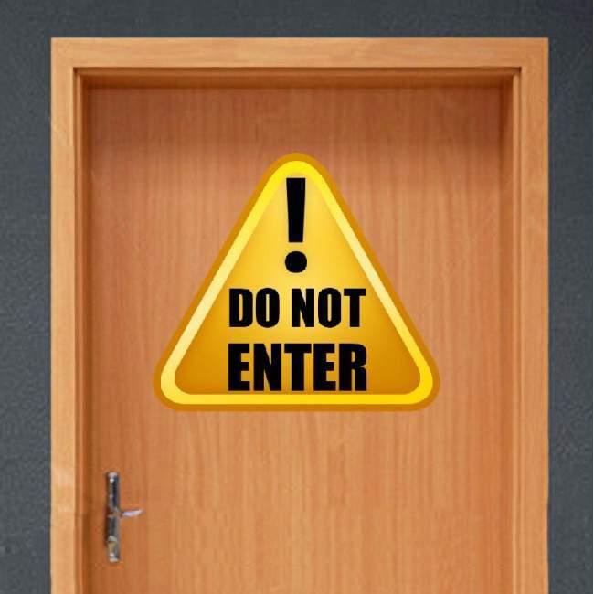 Αυτοκόλλητο τοίχου πόρτας. Πινακίδα, Do not enter, Μην Εισέρχεστε