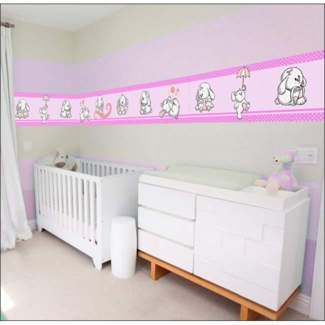 Μπορντούρα αυτοκόλλητο τοίχου, Κουνελάκια παντού ροζ