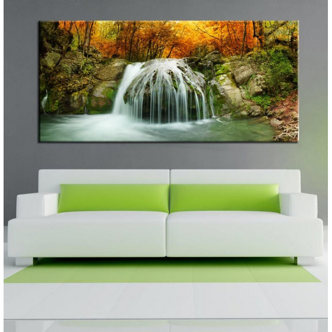 Canvas print Autumn creek, panoramic