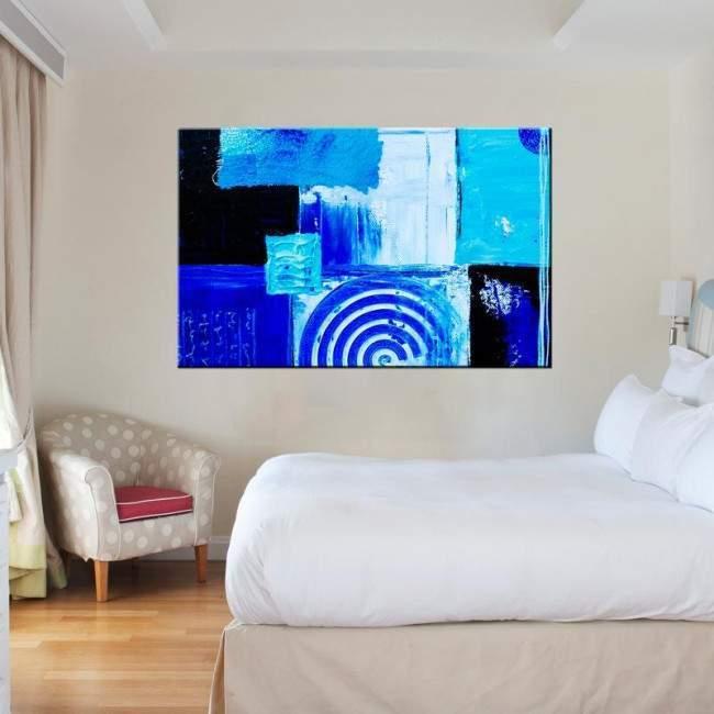Πίνακας σε καμβά γεωμετρικά σχήματα, Shape me blue