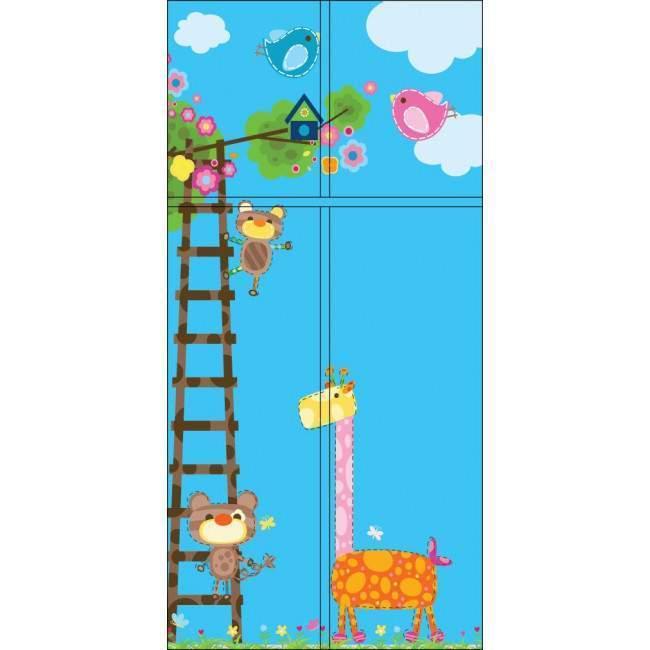 Καμηλοπάρδαλη  και οι φίλοι της (Μπλε) αυτοκόλλητο πόρτας, ντουλάπας