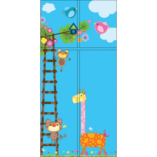 Door sticker Giraffe and friends