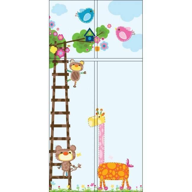 Καμηλοπάρδαλη  και οι φίλοι της (Γαλάζιο) αυτοκόλλητο πόρτας, ντουλάπας