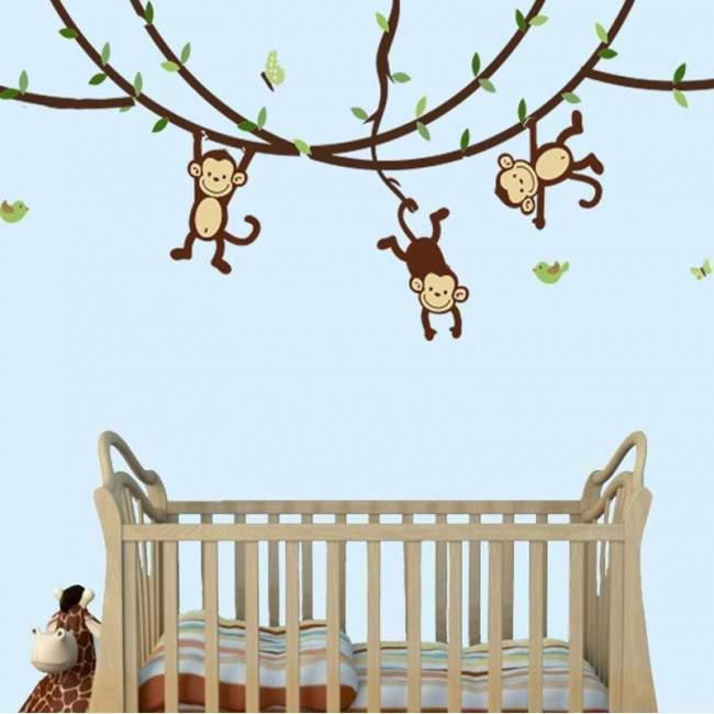 Αυτοκόλλητα τοίχου παιδικά μαιμουδάκια monkeys Lets play!