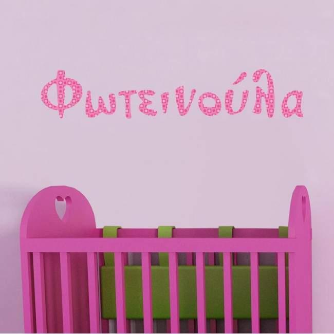Αυτοκόλλητο τοίχου Όνομα, ροζ μοτίβα