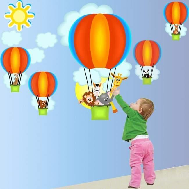 Αυτοκόλλητα τοίχου παιδικά αερόστατα, ζωάκια, Βόλτα με αερόστατο (γαλάζια)