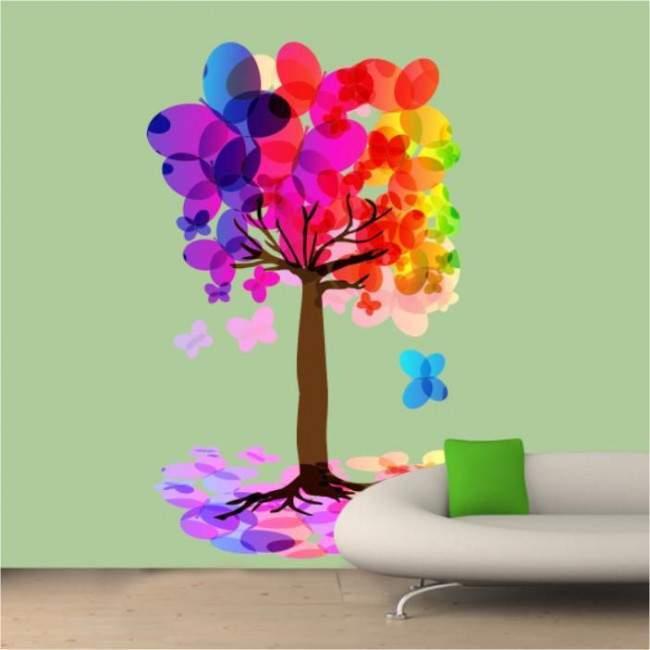 Αυτοκόλλητα τοίχου δέντρο, πεταλούδες. Μαγικός χορός πεταλούδων 2