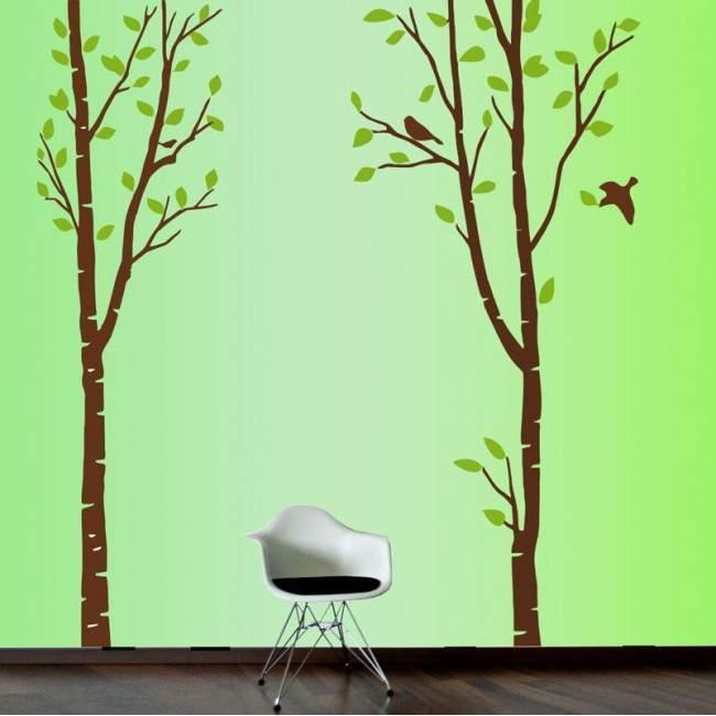 Αυτοκόλλητο τοίχου μεγάλα δέντρα και πουλιά, Art Tree