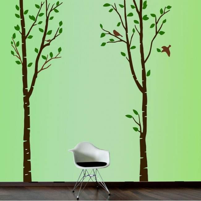Αυτοκόλλητο τοίχου μεγάλα δέντρα και πουλιά, Art Tree, dark colors