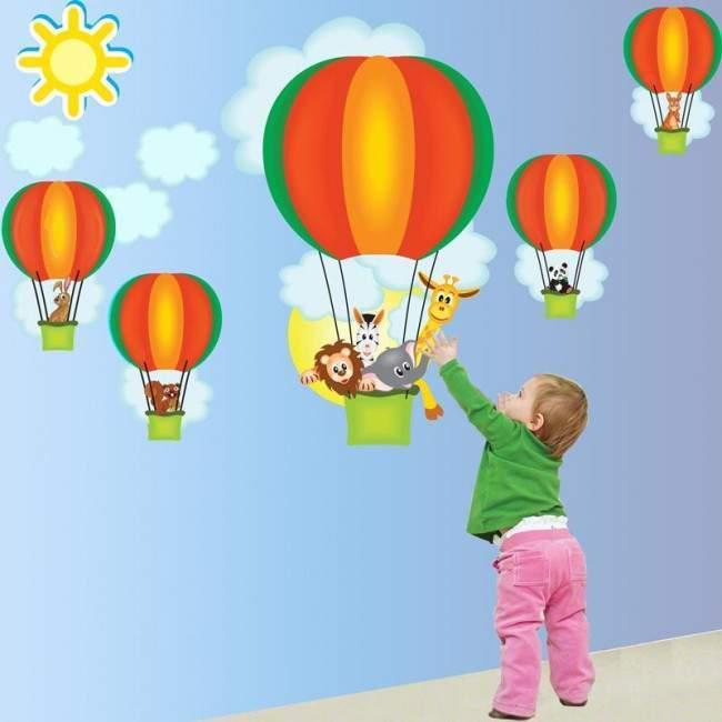 Αυτοκόλλητο τοίχου αερόστατα, ζωάκια, Βόλτα με αερόστατο (πράσινο)
