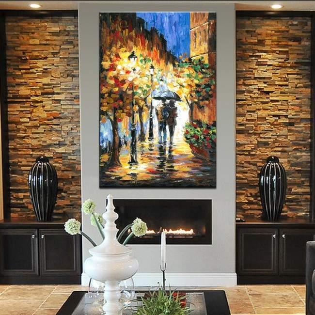 Πίνακας ζωγραφικής Couple rain walk, αντίγραφο σε καμβά