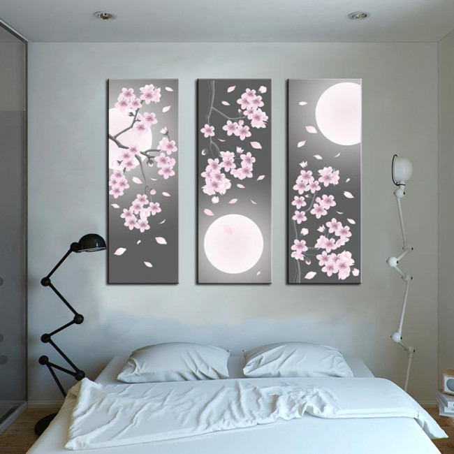 Canvas print Spring full moon,  3 panels