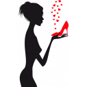 Love red shoes, αυτοκόλλητο τοίχου, κοντινό