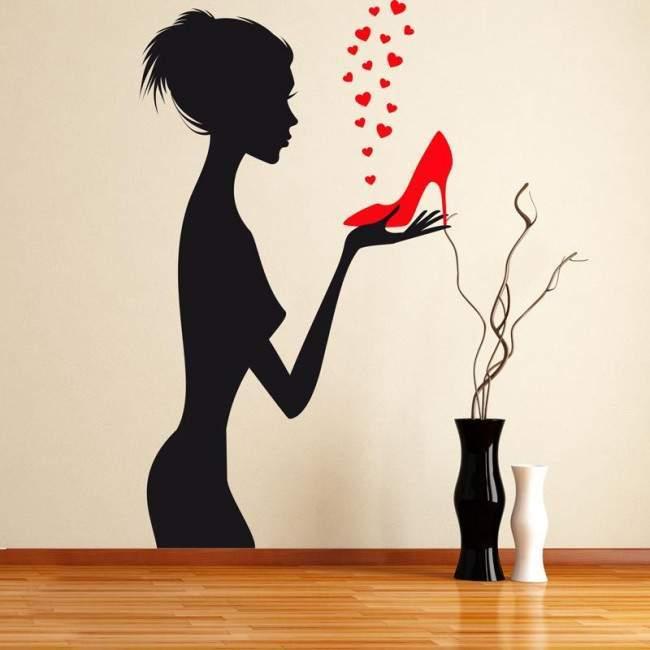 Αυτοκόλλητο τοίχου γυναίκα, παπούτσια, γόβες, Love red shoes