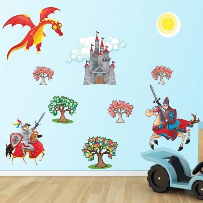 Αυτοκόλλητα τοίχου παιδικά ιππότες κάστρο και δράκος