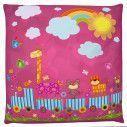 Cute Happy animals, 100 % βαμβακερό διακοσμητικό μαξιλάρι, με το όνομα που θέλετε!