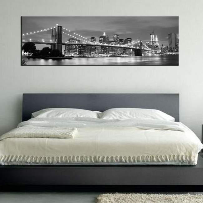 Πίνακας σε καμβά New York city grayscale, πανοραμικός